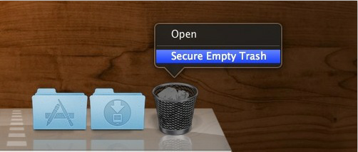click Secure Empty Trash button to remove files